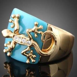 ARINNA Lovely Gecko on Blue Jade Yellow Gold GP ring