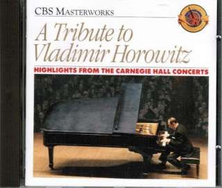 Tribute to Vladimir Horowitz   Highlights from the Carnegie Hall