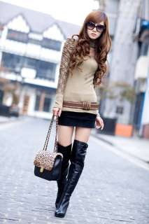 New Trendy Womens High Collar Lace Puff Sleeve Lady Tops T shirt 4863