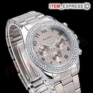 Elegant Silver Crystal Decorated Womens Ladies Watch