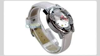 Cute Leather Fashion Ladies Crystal Quartz Band Wristwatch Pink