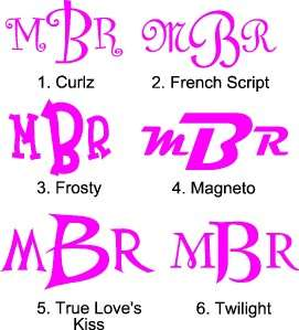Custom Personalized Monogram Window Sticker Decal