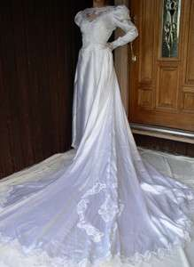 VINTAGE WOMAN BEIGE FORMAL GOWN BRIDAL WEDDING DRESS 14