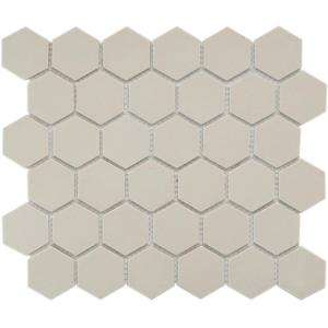 12 in. x 10 1/2 in. Unglazed Porcelain Mosaic Floor and Wall Tile