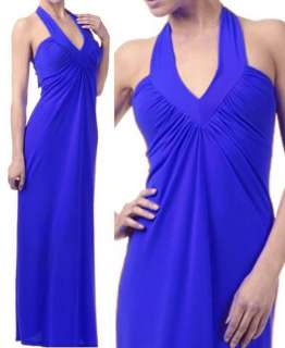 New Sexy Womans Long Fitted Cobalt Blue Halter Dress Small Medium