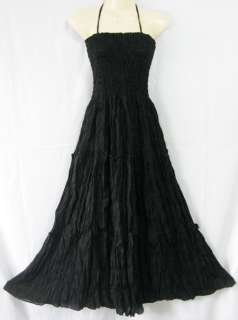 Balck Sexy Maxi Dress Smock Boho Gypsy Hippie Broomstick Casual #D42