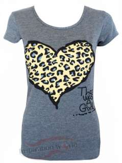 NEW WOMENS LADIES SLOGAN LEOPARD HEART PRINTED LONG T SHIRT TOP SIZE 8