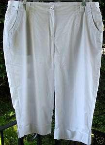 Talbots White Stretch Cotton Crop Capri Pants PLUS NTW