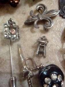 Victorian Vintage Huge Repair Lot 48+ Pieces Rhinestone, Charms
