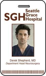 Derek Shepherd MD ID Card SGH Badge Hospital Prop