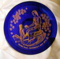 Orrefors Cobalt Blue LE Mothers Day Plate 1971