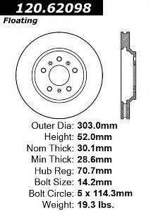 Centric Parts 121.62098 Front Disc Brake Rotor