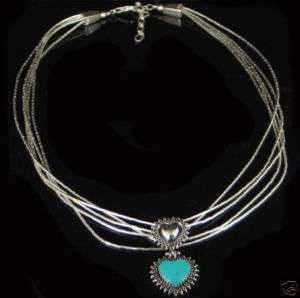 Liquid Sterling Silver Blue Turquoise Heart Necklace
