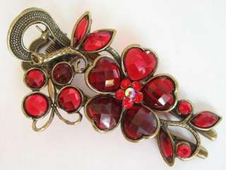 SWAROVSKI CRYSTAL BIG VINTAGE FLOWER BUTTERFLY HAIR BARRETTE 788