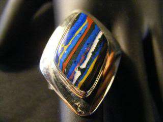 925 STERLING SILVER WOMENS RING W/MULTICOLOR STONE, Size 7 1/2