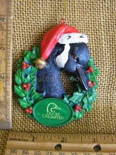 Kurt S. Adler Ducks Unlimited Goose Duck In Wreath With Santa Hat