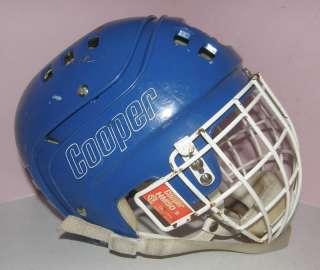 VINTAGE HOCKEY HELMET COOPER SK600 BLUE CAGE HM50