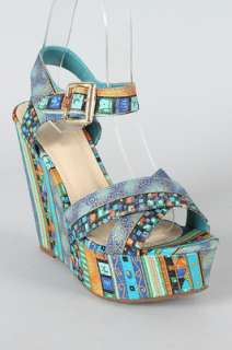 TURQUOISE Womens Tribal Print Criss Cross Open Toe Wedge Sandals Size