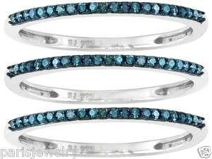 Carat Genuine Blue Diamond Sterling Silver 3 Set Ring