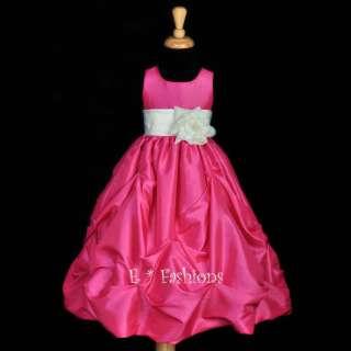 FUCHSIA IVORY WEDDING FLOWER GIRL DRESS 9M 2 4 5 6 8 10