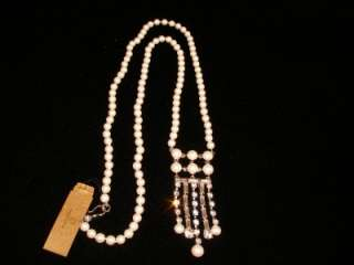 MONET FAUX PEARL RHINESTONE DROP LONG NECKLACE, NWT $62