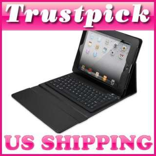 Black iPad 2 Wireless Bluetooth Keyboard Leather Case