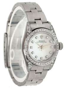 LADIES SS & 18K W GOLD DIAMOND ROLEX OYSTER PERPETUAL