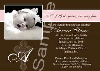 Christening Photo Baptism Invitations Boy&Girl Colors