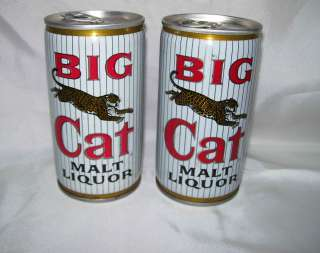 Big Cat Malt Liquor~Pabst Brewing Company~2 Beer Cans~Steel