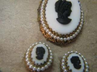 WEST GERMANY Clip On Earrings & Pendant CAMEO SET BLACK & WHITE