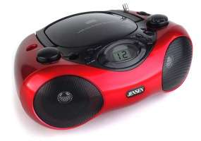 This portable stereo compact disc player AM/FM radio with top loading