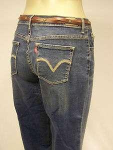 LEVIS JEANS 515 Mid Rise Denim Crop Womens Capri Pants With Belt New