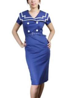 Rockabilly 50s Pinup Girl Sailor Dress Size 8   Plus Sz Sexy Wiggle