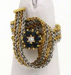 TWO TONE 18K GOLD, DIAMONDS & SAPPHIRE WOVEN BAND RING
