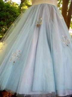 BLUE Tulle Wedding Bridal PROM Party Dress GOWN Pageant W/SHAWL XS/2 3