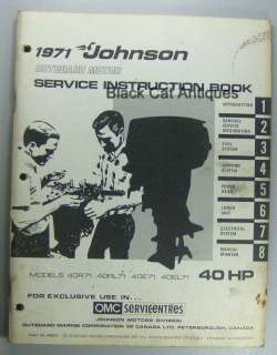 1971 Johnson Outboard Motor Service Instruction Book 40 HP Used