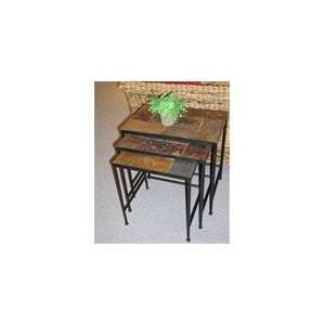 4D Concepts Black 3 Piece Nesting Tables with Slate Top