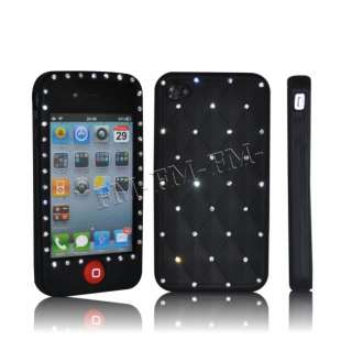 Black Bling Diamond Silicone Case For Apple iphone 4 4G