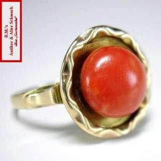 antiker JUGENDSTIL Ring KORALLE 333er / 8K GOLD um 1910 UNIKAT
