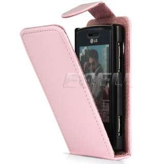 PINK LUXURY LEATHER FLIP CASE COVER FOR LG GM360 VIEWTY SNAP