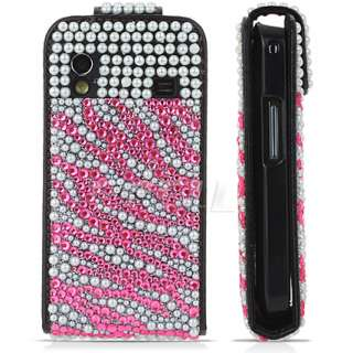 HOT PINK ZEBRA LEATHER BLING CASE FOR SAMSUNG S5830