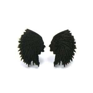 Brown Wooden Chief Cherokee Indian Stud Earrings Good
