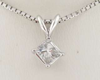 Genuine Diamonds 1/2ct Princess Cut Solid 14k White Gold Pendant 16