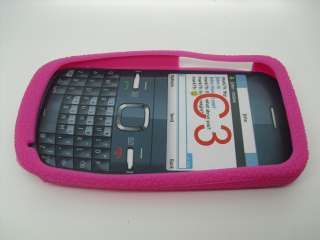 BRAND NEW NOKIA C3 PINK SILICON SKIN RUBBER CASE POUCH