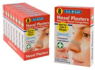 NEW 1 x PACK OF 8 NASAL PLASTERS STOP SNORING STRIPS