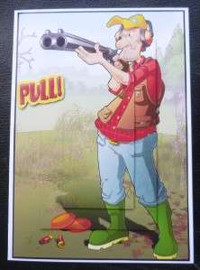 Fun Cartoon Style Clay Pigeon Shooting Birthday or Any Occasion Card