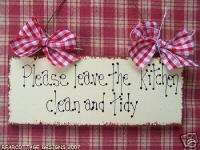 Shabby Country Leave Clean And Tidy Kitchen Sign Gift