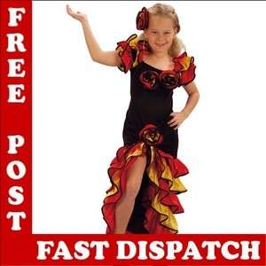 Spanish Rumba Girl Flamenco Fancy Dress Costume S,M & L