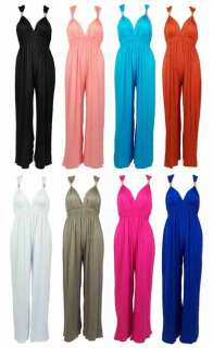LADIES LONG PALAZZO TROUSERS MAXI DRESS WOMENS JUMPSUIT