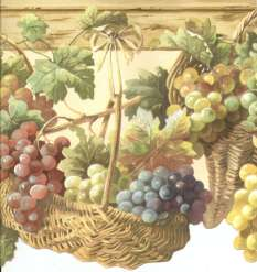 GRAPES IN BASKETS HANGING ON PEGS COUNTRY KITCHEN Wallpaper bordeR
